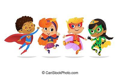 招待, mascot., 多人種である, 子供, 白, カラフルである, 特徴, ベクトル, 衣装, パーティー, 隔離された, superheroes, 女の子, 網, jump., 漫画, 幸せ, バックグラウンド。, 男の子, 身に着けていること