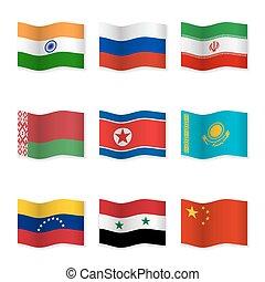 招手, 旗, ......的, 俄語, 盟友, 國家