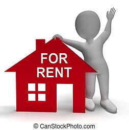 招租, 房子, 顯示, 租金, 或者, 租約, 財產