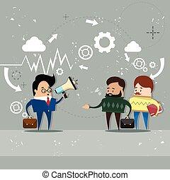 拡声器, 同僚, メガホン, ビジネス 人々, 上司, チーム, ビジネスマン, 把握, リーダー