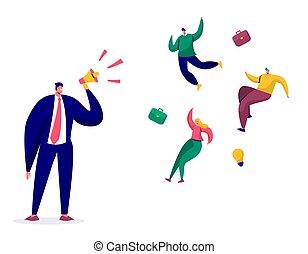 拡声器, 失業, 概念, 失業者, 平ら, 怒る, 却下しなさい, 発砲, イラスト, 解雇, 上, characters., マネージャー, ベクトル, businessman., 従業員, 上司, 叫ぶこと, 漫画, 発射される
