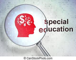 拡大する, 光学, ガラス, ∥で∥, 金融, シンボル, アイコン, そして, 特別, 教育, 単語, 上に, デジタルバックグラウンド, 3d, render