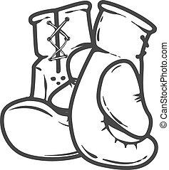 拳擊手套, 被隔离, 在懷特上, 背景。, 設計元素, 為, 標識語, 標簽, 象征, 徵候。, 矢量, 插圖