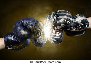 拳擊, 政治, 良好, 手套, 在之間,  symbolized, 希臘, 危機