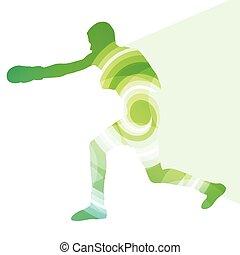 拳擊, 活躍, 年輕人, 箱子, 運動, 黑色半面畫像, 插圖, 背景, 鮮艷, 概念