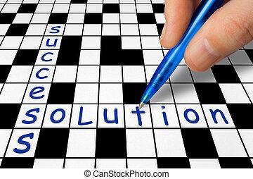 拼字游戏, -, 解决, 成功