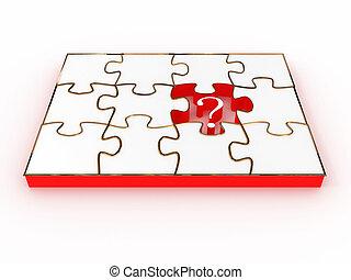 拼板玩具, 由于, 簽署, 問題, 被隔离, 在懷特上, 背景。, 3d, 圖像