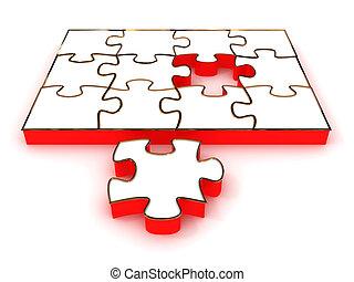 拼板玩具, 被隔离, 在懷特上, 背景。, 3d, 圖像