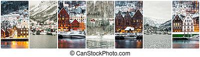 拼貼藝術, 吸引, 冬天, 卑爾根