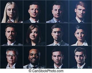 拼貼藝術, 多种多樣, 臉, 表示, 人們, 概念