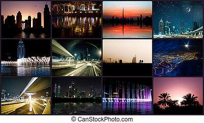 拼貼藝術, 夜晚, 相片, 從, 迪拜