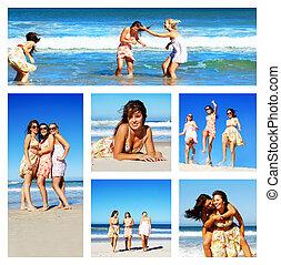 拼貼藝術, 婦女, 海灘, 年輕