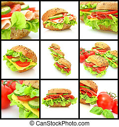 拼貼藝術, 很多, 不同, sandwichs, 新鮮