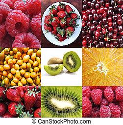 拼貼藝術, 新鮮, 水果