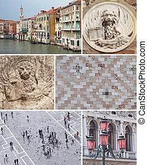 拼貼藝術, 由于, 界標, ......的, 威尼斯, italy, 歐洲
