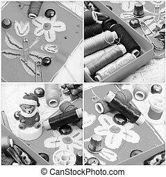 拼貼藝術, 由于, 縫紉, 工具