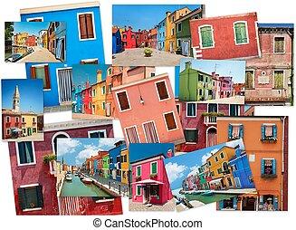 拼貼藝術, ......的, 圖像, ......的, 鮮艷, 建筑物, 上, the, burano 的島, 威尼斯
