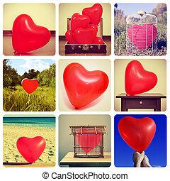 拼貼藝術, ......的, 圖片, ......的, 心形, 气球, 射擊, 所作, myself