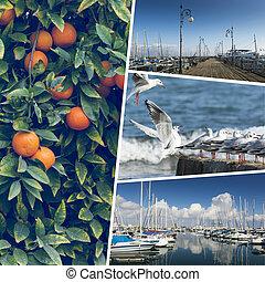 拼貼藝術, ......的, 塞浦路斯, 圖像, -, 旅行, 背景, (my, photos)