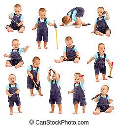 拼貼藝術, ......的, 小男孩, 玩, 由于, 工具