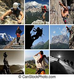 拼貼藝術, ......的, 山, 夏天運動, 包括, 遠足, 攀登, 以及, 登山