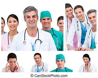 拼貼藝術, ......的, 年輕, 醫生, 以及, 外科醫生