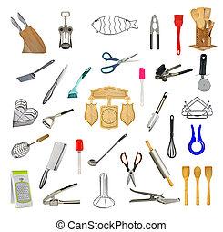 拼貼藝術, ......的, 廚房, 工具