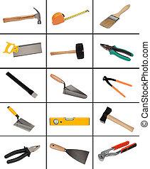 拼貼藝術, ......的, 很多, 不同, 工具