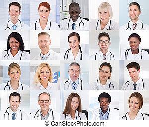拼貼藝術, ......的, 微笑, 醫生