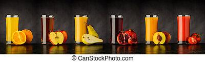 拼貼藝術, ......的, 新鮮的水果, 汁, 喝, 在, 玻璃