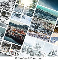 拼貼藝術, ......的, 相片, 從, 卑爾根