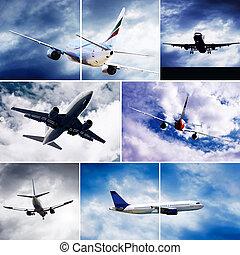 拼貼藝術, ......的, 相片, 所作, 飛机, 在, 飛, 上, the, 天空, 由于, 云霧