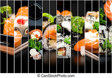 拼貼藝術, ......的, 相片, ......的, 壽司