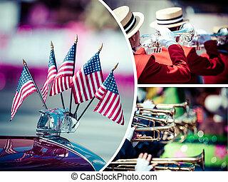 拼貼藝術, ......的, 美國人, 遊行