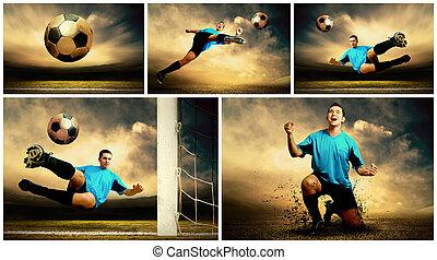 拼貼藝術, ......的, 足球, 圖像, 上, the, 戶外, 領域