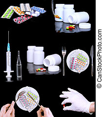 拼貼藝術, ......的, medicine-, 藥丸, syringe.