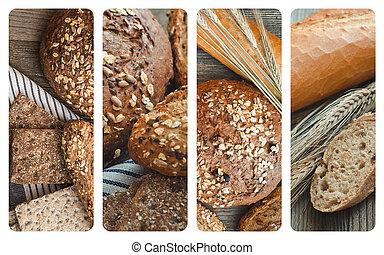 拼貼藝術, 相片, 不同, 類型,  bread