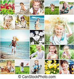 拼貼藝術, 相片, 快樂, rejoices, 春天, 女孩