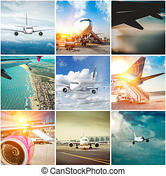 拼貼藝術, 相片, ......的, 飛機