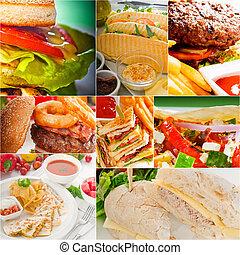 拼貼藝術, burgers, 三明治, 彙整