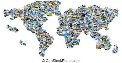 拼贴艺术, 在中, 旅行, 形象, -, 世界地图