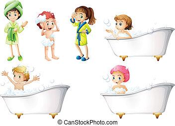 拿, 孩子, 洗澡