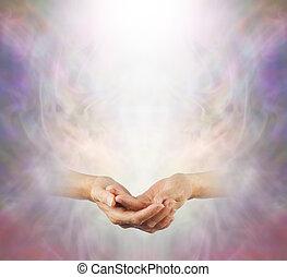 持たれた, 瞑想, 手, 平和である
