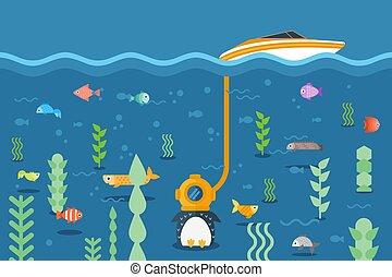 持たれた, flightless, 装置, 水泳, fish, 鳥, ヨット, 水中, three-cap, ペンギン, ベクトル, 世界, のまわり, illustration., チューブ, 探検する