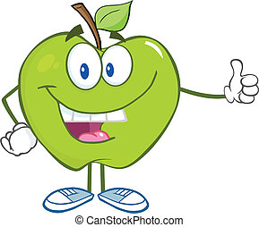 持ちこたえる, 親指, 緑のリンゴ