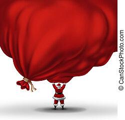 持ち上がること, 巨大, 袋, サンタクロース