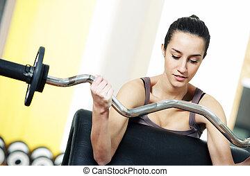 持ち上がること, gym:, 肖像画, ウエイト, 女, 若い
