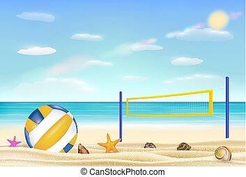 持って来なさい, 空, バレーボール, バックグラウンド。, 砂の 海, 網, 浜