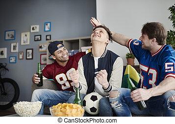 ∥持って来る∥, フットボール, 一緒に, 人々