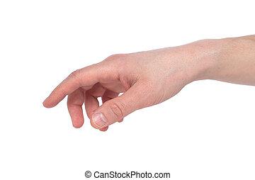 指すこと, イメージ, 隔離された, 人, 感動的である, 指, 背景, 白, ∥あるいは∥